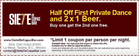 Coupon - Half Off First Private Dance & 2 for 1 Beer