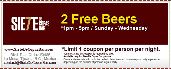 Coupon - 2 FREE Beers - *1pm - 5pm / Sunday - Wednesday