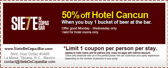 Coupon - 50% off Hotel Cancun when you buy 1 bucket of beer at the bar.